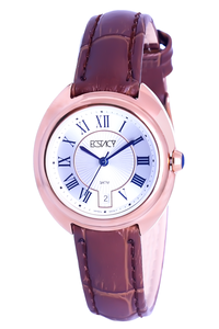 Ecstacy Women's Leather Band Watch E7509-RLDW, brown, rose gold, white