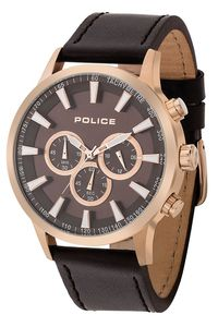 Men's Leather Band Watch - P 15000, brown, rose gold, brown