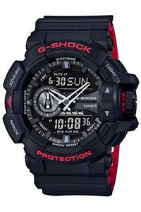 Men's Resin Band Watch -GA-400HR, black, black, black/red