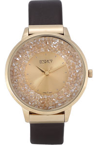 Women's Leather Band Watch -E6513, gold ipg, champagne, dark brown
