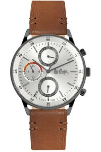 Men's Leather Band Watch - LC06480, silver, black, brown