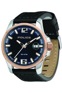 Men's Leather Band Watch - P 12591, blue, silver, black