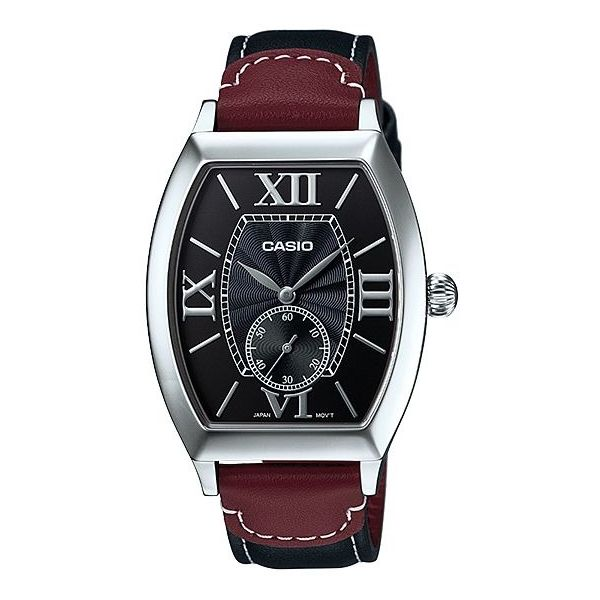 Men s Leather Band Watch - MTP-E114L