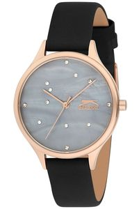 Women's Leather Band Watch - SL. 9.6054, mop grey, rose gold, black