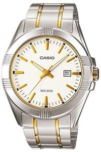 Men's Stainless Steel Band Watch - MTP-1308, white, silver, tt gold