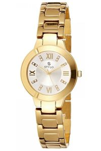 Stylo Women's Stainless Steel Band Watch - S7544-GBGB, silver, ip gold, ip gold