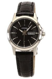 Women's Leather Band Watch - EQ0600, black, silver, black