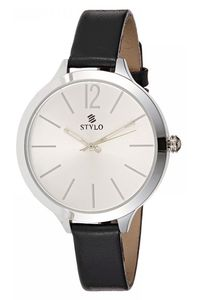 Stylo Women's Leather Band Watch - S7538-GLDS, silver, silver, black
