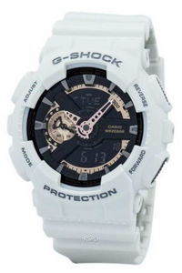 G-shock Men's Resin Band Watch GA-110RG-7A, black/rose gold, white, white