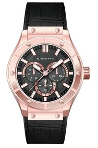 Giordano Men's Leather Band Watch 1776-03, black, rose gold, black