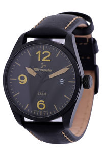 Men's Genuine Leather Band Watch- T5026, black, black, black