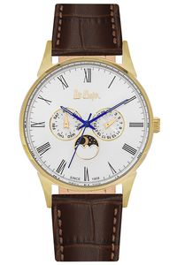 Men's Leather Band Watch -LC06433, black, rose gold, white