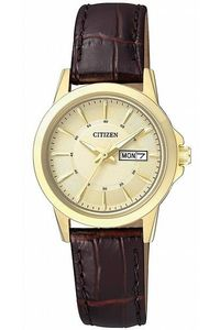 Women's Leather Band Watch - EQ0603, gold, brown, gold