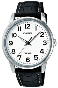 Men's Leather Band Watch - MTP-1303L, white, black, black