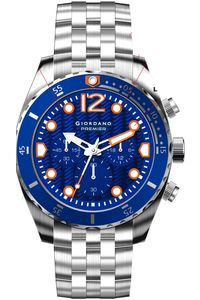 Giordano Men's Solid Stainless Steel Band Watch P1022-22, blue, silver, silver