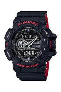 G-shock Men's Resin Band Watch GA-400HR-1A, black, black, black/red