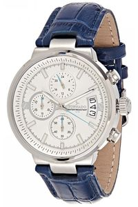 Men's Genuine Leather Band Watch- T8108, silver, white, blue