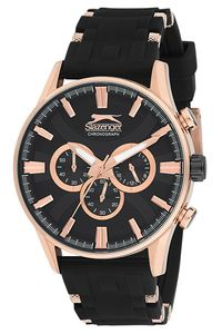 Men's Resin Band Watch - SL. 9.6050, black, rose gold, black