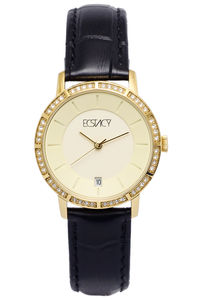 Ecstacy Women's Leather Band Watch E7501-GLBC, black, gold, champagne
