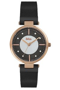 Women's Super Metal Band Watch -LC06662, black, rose gold, black