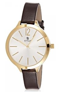 Stylo Women's Leather Band Watch - S7538-GLDS, silver, ip gold, brown