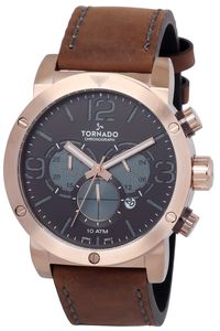 Tornado Men's Watch Chronograph Display-T8110-RLDD, rose gold, brown