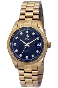 Women's Stainless Steel Band Watch -S7068, black, ip gold, ip gold