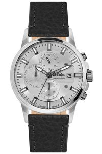 Men's Leather Band Watch - LC06655, black, silver, silver