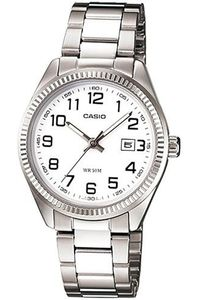 Women's Stainless Steel Band Watch - LTP-1302S, white/black, silver, silver