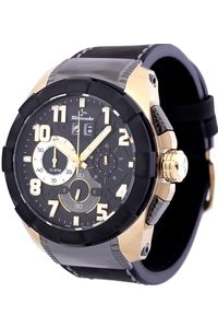 Men's Genuine Leather Band Watch- T6104, black, black, gold