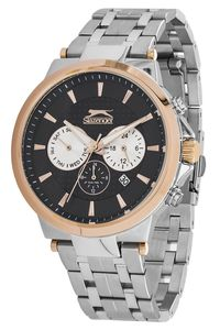 Men's Stainless Steel Band Watch - SL. 9.6066, blue, rose gold, blue
