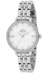 Women's Stainless Steel Band Watch - SL. 9.6078, white, gold, silver