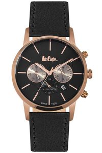 Men's Leather Band Watch -LC06341, black, silver, black