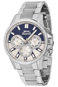 Men's Stainless Steel Band Watch - SL. 9.6028, blue/white, silver, silver