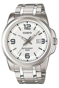 Men's Stainless Steel Band Watch - MTP-1314S, white, silver, silver