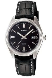 Women's Leather Band Watch - LTP-1302L, black, black, silver