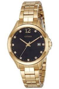 Women's Stainless Steel Band Watch - EV0052, black, gold, gold