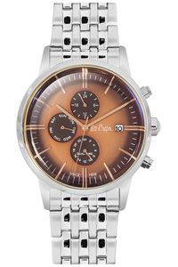 Men's Super Metal Band Watch - LC06268, silver, silver, brown