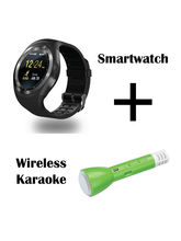 Hamee Ambitech Smartwatch With Free Karaoke Mic With Bluetooth Speaker And Sound Receiver (821-smart019-50)