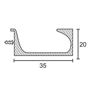 ONYX ALUMINIUM DRAWER & SHUTTER PROFILES - 45MM HANDLE PROFILE (3 MTR), aluminium finish