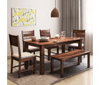 Alquiler Hove Sheesham wood Dining Table with Bench| 6 Seater