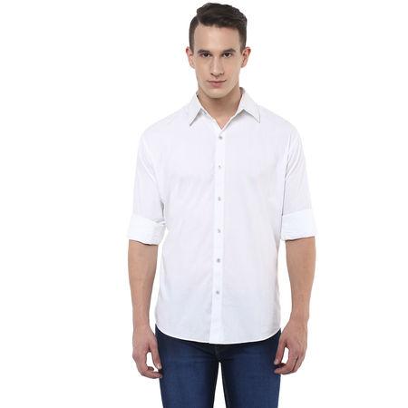 Stylox Stylish White Slim Fit Casual Shirt, m