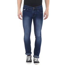 Stylox Mens Dark Blue Monkey Wash Slim Fit Jeans, 32
