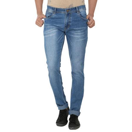 Stylox Light Blue Shaded Cotton Blended Jeans For Men, 34