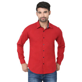 Stylox Stylish Meroon Slim Fit Casual Shirt, l