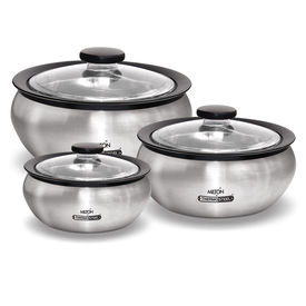 clearsteel 3 pcs set (600 / 1500 / 2000) - Milton - Insulated Steel - Kitchen Hot Food