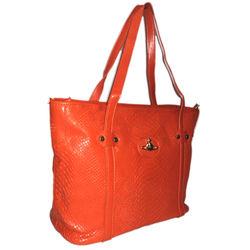 Crocodile leather fashion handbag, Orange, orange