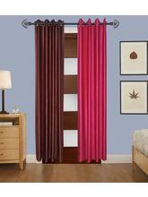 Angiela Home Fab Solid Crush Quality Multicolor Door Curtains-2 Piece (Angiela0059-7 Feet)