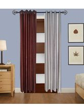Angiela Home Fab Solid Crush Quality Multicolor Door Curtains-2 Piece (Angiela0062-7 Feet)