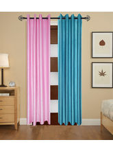 Angiela Home Fab Solid Crush Quality Multicolor Long Door Curtain-2 Piece (Angiela0112-9 Feet)